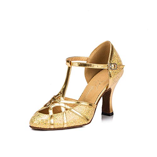 Meijili Damen High Heel Schuhe Salsa Tango Modernes Ballrom Latein Tanzschuhe, Gr.-38 EU/ 5 UK, Gold White Satin Wedge Schuhe
