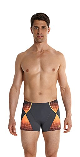 Speedo - Fit Pinnacle Aqua Short de bain - Homme - Gris (Gris Oxydé/Orange Fluo/Or Global) - FR: 75 (Taille Fabricant: 30)