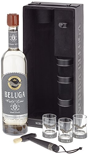 Beluga Russian Vodka Gold Line Leather mit 3 Gläser