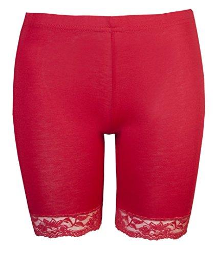 Short de cyclisme pour femme Bordure en dentelle pour femme Motif Love Lola-Short de cyclisme Stretch ® Rouge - Rouge