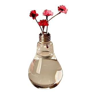 Gespout 1pcs Bombilla Clara Forma de la Mesa de Vidrio Chuchería Planta Florero de Cristal de Vidrio Envase Hidropónico para el Jardín de su Casa Decoración de la Oficina de Boda – 14 * 8 cm
