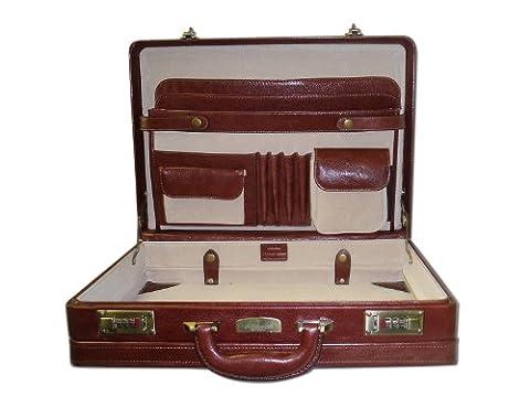 Italian Top grain Leather expanding Attache case 9861 Cognac colour