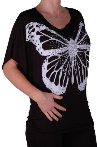 EyeCatch TM - Haut a manches chauve souris motif papillon - Amoretta - Femme - Taille unique Noir