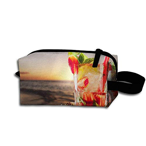 Sunset Cocktail (Makeup Cosmetic Bag Beach Tropical Cocktails Sunset Strawberry Travel Make-Up Bags Pen Case Portable Storage Multi)