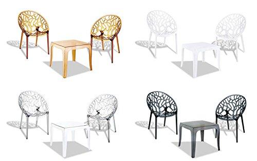 CLP Outdoor-Sitzgruppe ARENDAL | 2 stapelbare Stühle und 1 stapelbarer Tisch | Gartenmöbel aus pflegeleichtem Kunststoff erhältlich