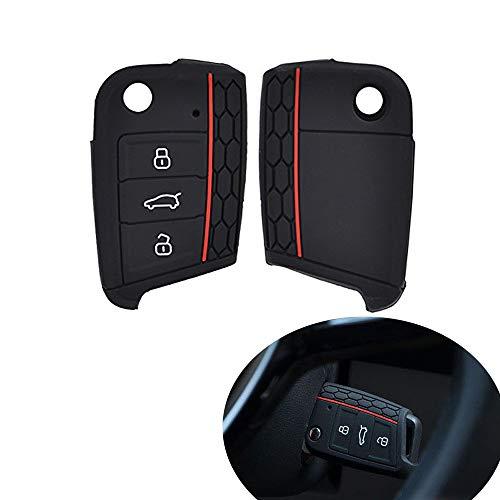 Muchkey® Schlüsselcover für Golf 7 GTI MK7 Octavia A7/Seat Leon, Schlüsselhülle für Golf VII, aus Silikon, mit 3 Tasten, Flip-Fernbedienung, Schlüsselschutz, 1x, schwarz
