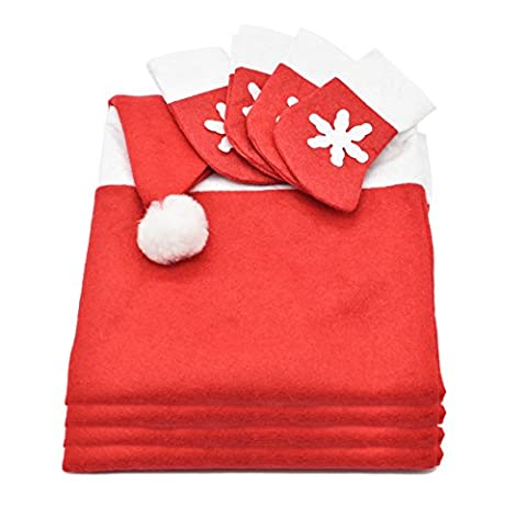 4pcs Red Santa Hat Chair Back Covers with 4pcs Snowflake Silverware Holders Pockets Christmas Dinner Table Party Decor Set