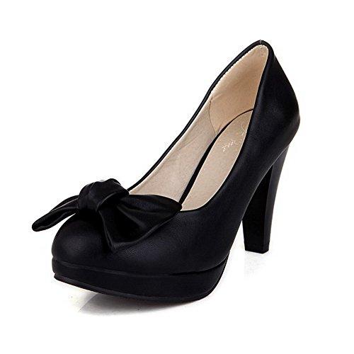 AgooLar Damen Weiches Material Rund Zehe Hoher Absatz Ziehen Auf Rein Pumps Schuhe Schwarz