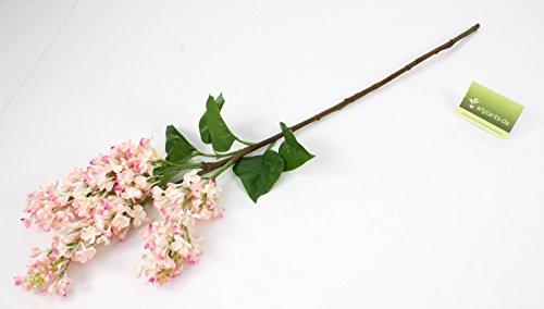 artplants Künstlicher Fliederzweig mit 3 Blüten, rosa, 85cm, Ø 7cm – Kunstblumen Flieder/Kunstpflanzen / Dekoblume