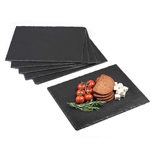 Minuma® Schieferplatten Set 6-teilig | 40 x 30 cm aus Naturgestein mit Moosgummi-Füßen zum Schutz von Oberflächen| vielseitig einsetzbar z.B. als Servierplatte oder Untersetzer | edle Naturoptik