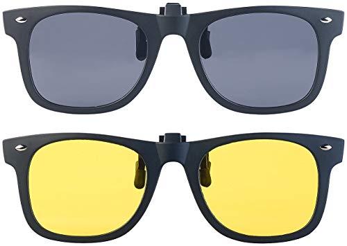 PEARL Sonnenbrillen Clip: 2er-Set Nachtsicht- und Sonnenbrillen-Clips, polarisiert, UV400 (Überzieh-Sonnenbrille)