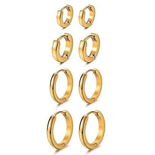 Cupimatch Ohrringe Damen 4 Paare Creolen Hochglanz Edelstahl Ohrringe Frauen Herren Piercin Ohr Schmuck, Schwarz, Gold, Silber