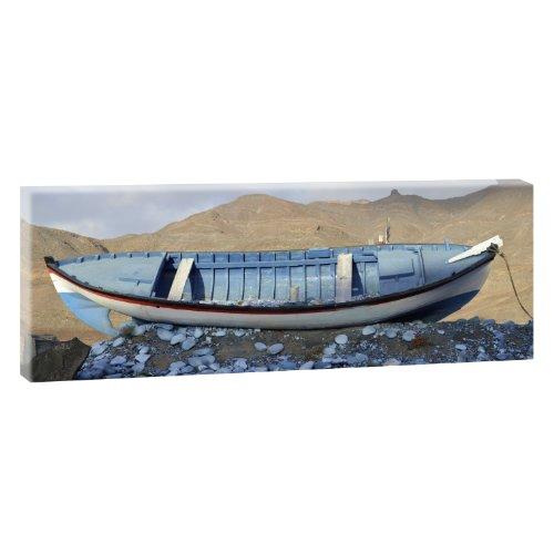 Strandboot - Trendiger Kunstdruck auf Leinwand im XXL Format- 120cm x 40 cm