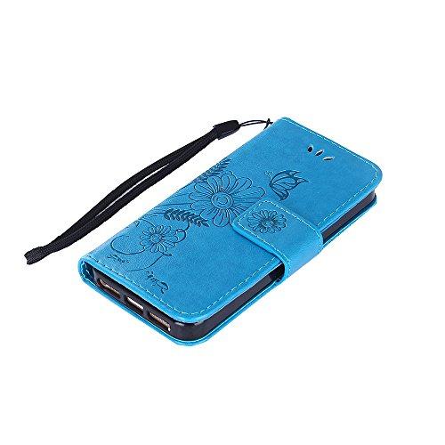 Custodia per iPhone 5/5S Cover Pelle,SKYXD Colorata Fiore Formica Disegni 3D Morbida Flip Libro PU Pelle Portafoglio Custodia Case per iPhone SE/5S/5 Guscio Protettivo Coperture Antiurto 360 Protezion Blu