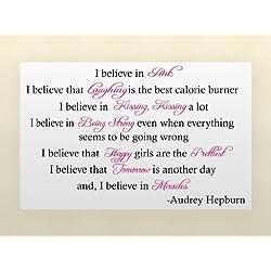 Click Daunen Audrey Hepburn I Believe In Miracles Art Wand Inspirierende Zitate und Sagen Home Decor Aufkleber Aufkleber