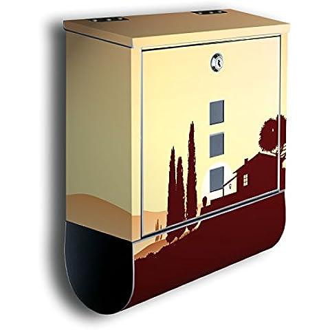Buzón decoración de diseño: paisaje italiano BK177, acero inoxidable diseño de correos con compartimento para periódicos, buzón, buzón, caja