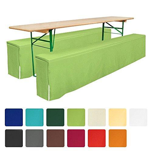 Beautissu® Comfort L gepolsterte Bierbank-Husse bodenlang 220x25x40cm 2 tlg Set für Bierzeltgarnitur - Apfel-Grün