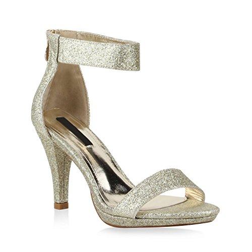 Stiefelparadies Damen Lack Sandaletten Stiletto Sandalen Strass Party Sommer Riemchensandaletten T-Strap Schuhe 110392 Gold Bernice 36 Flandell