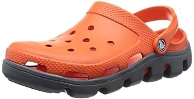 Crocs Unisex Duet Sport Clog Tangerine/Charcoal Clogs and Mules - 5