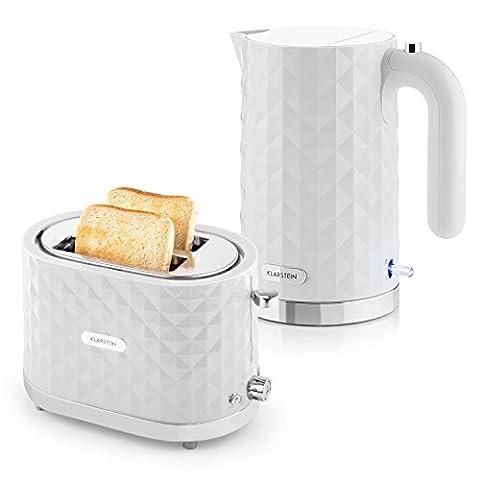 Klarstein Granada Bianca Frühstücksset Wasserkocher + Toaster (2000 Watt, 360° Basisstation, 1,7 Liter Wasserkocher, 1000 Watt Toaster, stufenlose Bräunungsregulierung) weiß