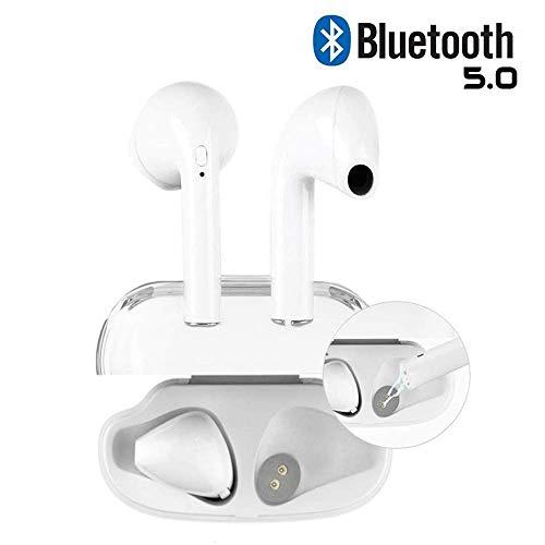 Kopfhörer Bluetooth, Weiß, kabellos, In-Ear-Kopfhörer, Freisprecheinrichtung, mit Geräuschunterdrückung, kompatibel mit iPhone XR X 8 7 6 iPad Android Smartphone (Bluetooth V5.0+)