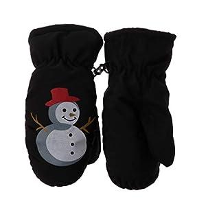 ECMQS Weihnachten Schneemann Kinder Winterhandschuhe, Thermo Warm Handschuhe Atmungsaktive Fausthandschuhe Kinderhandschuhe Winddicht Ski Fäustlinge Pink Schwarz Baby Jungen Mädchen 2-5 Jahre