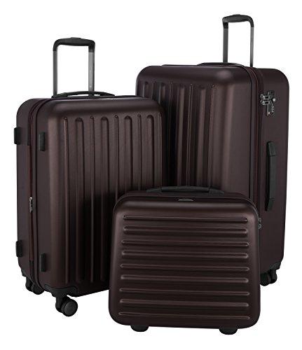 HAUPTSTADTKOFFER - Tegel - 3er Koffer-Set Trolley-Set Rollkoffer Reisekoffer Hartschalenkoffer, TSA, (S, M & L), Dunkelbraun