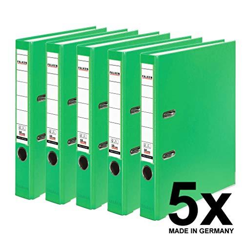 Falken PP-Color Kunststoff-Ordner 5 cm schmal DIN A4 Pastell-Farbe hellgrün 5er Pack Ringordner Aktenordner Briefordner Büroordner Plastikordner Schlitzordner