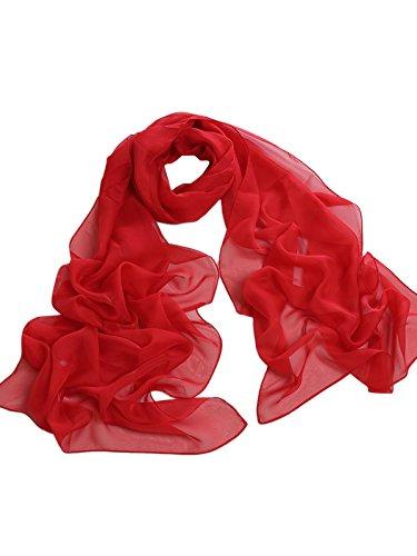 Damenschal Sommer Chiffon Schal Strand Schals Chiffonschal One Size Rot