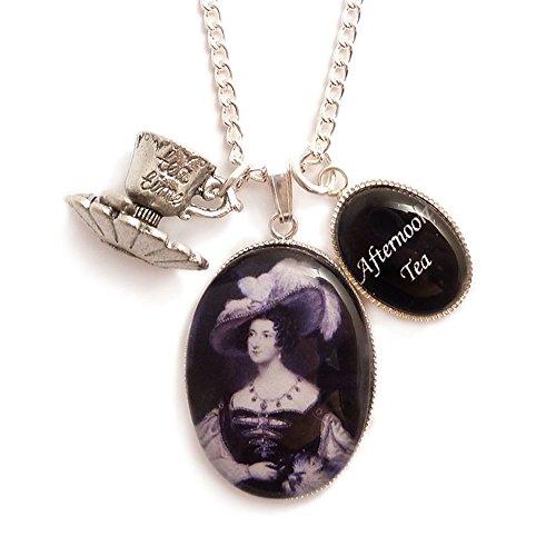 LunarraStar Damen Viktorianisch Anna Russell Afternoon Tea Time Teetasse Anhänger Charm-Halskette aus Versilbert mit Oval Glas Anna Cup