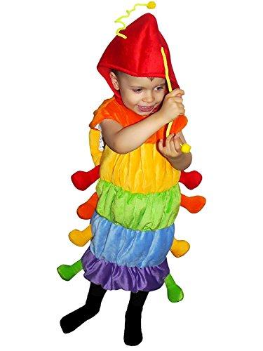 Raupen-Kostüm, F83 Gr. 104-110, für Kinder, Raupe-Kostüme Raupen für Fasching Karneval, Klein-Kinder Karnevalskostüme, Kinder-Faschingskostüme, Geburtstags-Geschenk - Kleinkind Dino Kid Dinosaurier Kostüm