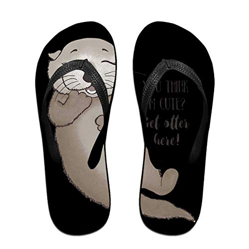 You Think Im Cute Get Otter Here Unisex Adults Casual Flip-Flops Sandal Pool Party Slippers Bathroom Flats Open Toed Slide Shoes Small