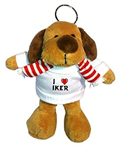 Perro de peluche (llavero) con Amo Iker en la camiseta (nombre de pila/apellido/apodo) de SHOPZEUS