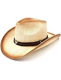 GBY Cappello da Cowboy di Paglia da Uomo con Cowgirl di Sombrero Western  del papà di ca2a74f95e94