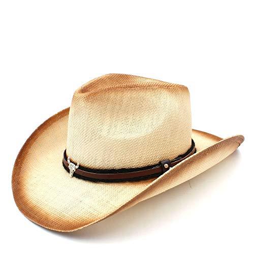 Kostüm Stier E Wolle - Jxth Westlicher Hut mit breiter Krempe Frauen-Stroh-Cowboyhut mit Stier-Kopfband für Dame Dad Western Sombrero Hombre Cowgirl Kostüm-Zusatz-Cowgirl-Hüte (Farbe : Natürlich, Größe : 58 cm)