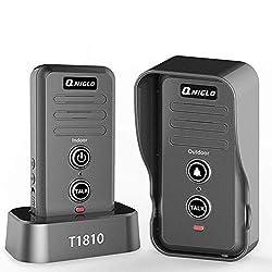 Wireless Intercom Doorbell, IP55 Waterproof Door Bell Cordless, 600m/2000ft Range, 20 Doorbell Chime, 3-Level Volume, Two Way Talk Wireless Doorbell (1Transmitter_1Receiver)