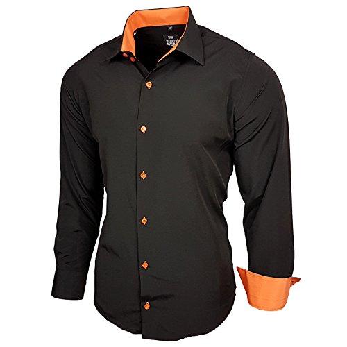 Baxboy Kontrast Herren Slim Fit Hemden Business Freizeit Langarm Hemd RN-44-2, Größe:XL, Farbe:Schwarz/Orange