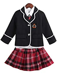 dPois Enfant Fille Uniforme Scolaire Style Britanniques Costume Manteau À Manches  Longues Jupe À Carreaux avec a7ebd2b3984b