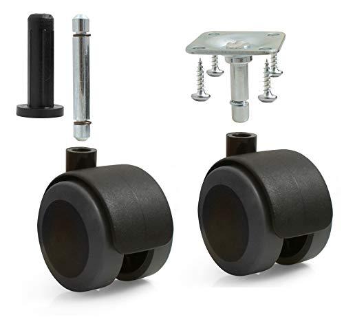 Design61 4er Set Universal Möbelrollen mit Bremse Lenkrollen Bodenschutz Rollen mit Feststeller Anschraubplatte und Hülse Stift