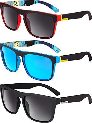 Blulu 3 Stücke Herren Sonnenbrillen Männer Klassisch 80's Retro Sonnenbrillen Modisch Stilvoll Fahren Angeln Sonnenbrillen (Farbe Set A)