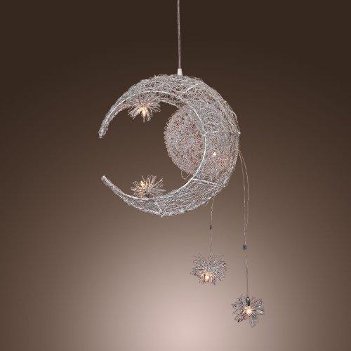 Balcon en aluminium pendentif LED en aluminium Argenté Fil Ondulé Lune & étoiles Nid Chambre plafond Pendentif lampe