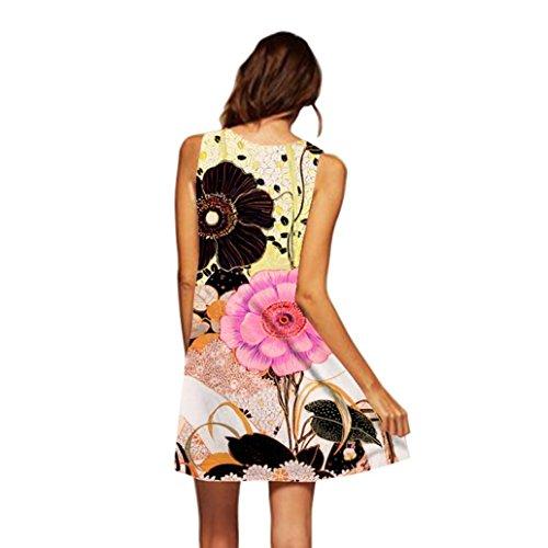 MRULIC Damen Lovely Mini Floral Printing A-Linie Kleider Beach Dress Vintage Boho Frauen Sommer Ärmelloses Party Kleide(N-Gelb,EU-40/CN-M) (Floral Vintage-gürtel)