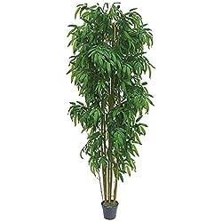 Decovego Bambus Groß Kunstbaum Kunstpflanze Künstliche Pflanze mit Echtholz 210cm
