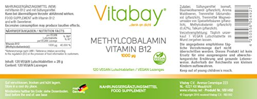 Methylcobalamin - 1000 mcg - Vitamin B12 Lutschtabletten - Vegan (120 Vegane Lutschtabletten) - 2