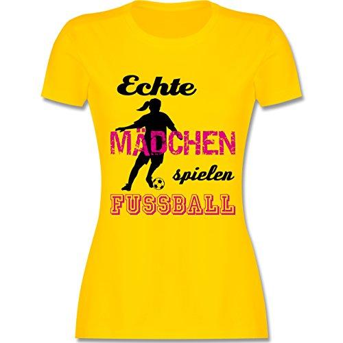 Shirtracer Fußball - Echte Mädchen Spielen Fußball - Schwarz - Damen T-Shirt Rundhals Gelb