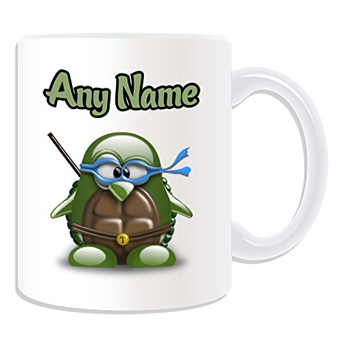 Kostüm Mutant Baby Teenage Raphael Turtles Ninja (Personalisiertes Geschenk – Teenage Mutant Ninja Turtles Tasse (Pinguin Film Charakter Design Thema, weiß) – Jeder Name/Nachricht auf Ihre Einzigartiges – Kostüm Film Superheld Held Leonardo Michelangelo Donatello)