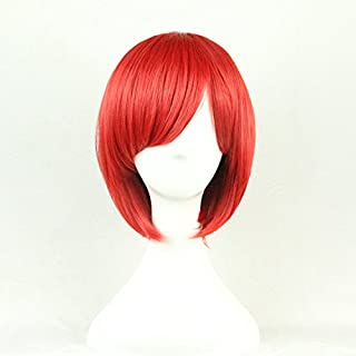 Womens Ladies Girls 32cm Red Short Hair Wigs High Quality Hair Carve Cosplay Costume Anime Party Bangs Full Sexy Wigs