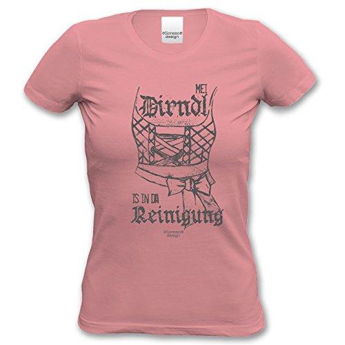 Mei Dirndl is in da Reinigung ::: Sprüche Motiv Fun T-Shirt für Damen & Mädchen - Trachtenshirt Freizeit Volksfest Oktoberfest Farbe: rosa Rosa