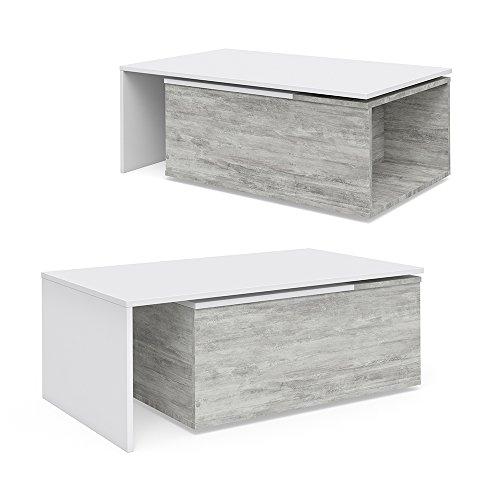 Vicco Couchtisch 60x100 cm Wohnzimmertisch Beistelltisch Kaffetisch Holztisch +++ INKL DREHBARER PLATTE UND EXTRA STAURAUM +++ (Beton/Weiß)