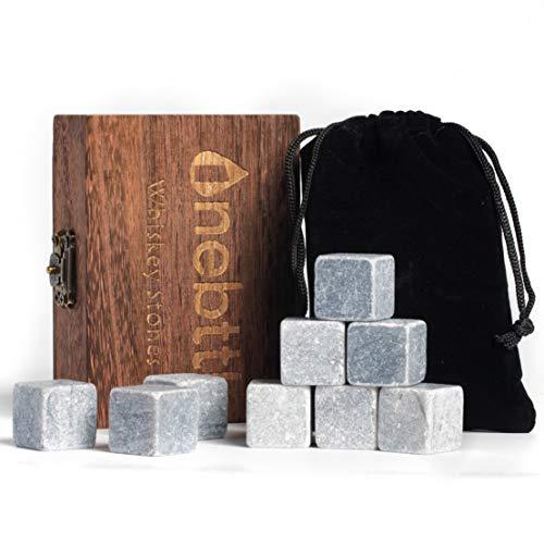 9pcs Piedra de Jabón Gris Piedras de Whisky - Onebttl Whisky Stones para Enfriar su Whisky Vino y otras Bebidas Cubos de hielo reusables-con una Elegante Caja de Madera y Bolsa de Terciopelo